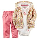 Carters Baby Girls 3-pc. Floral Fox Hoodie Set - Newborn - Pink/yellow/white