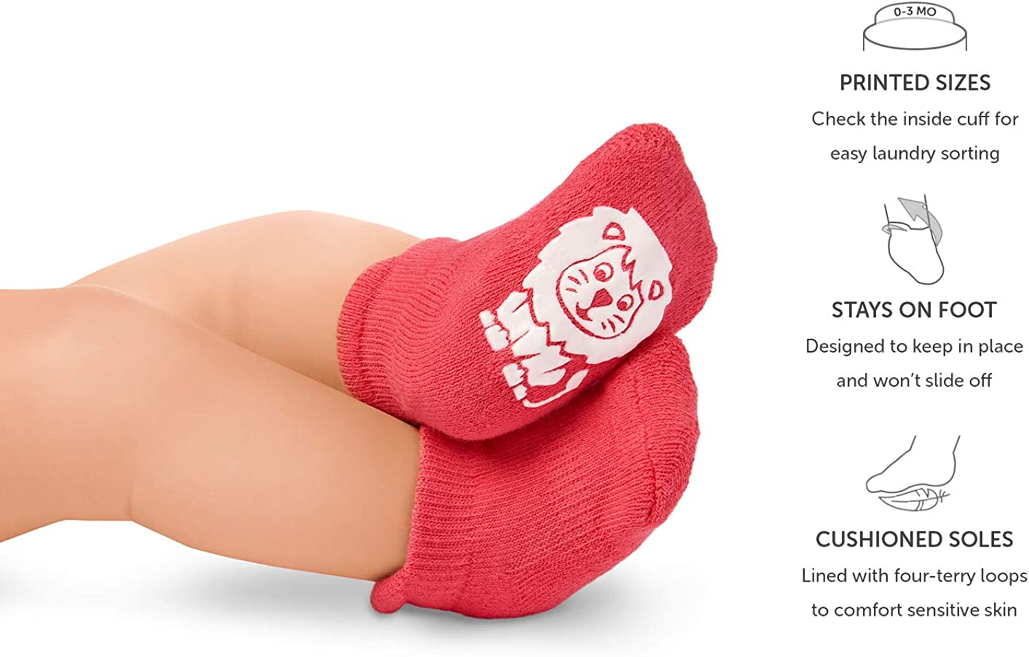 Anole Newborn /& Infant Baby Socks 6 Pairs Ankle Girls Boys with Soft Cotton Cushion