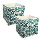 "DII Home Essentials Foldable Fabric Storage Containers for Nurseries, Offices, Closets, Home Décor, Cube Organizers & Everyday Use, 11 x 11 x 11"", Scroll Teal - Set of 2"