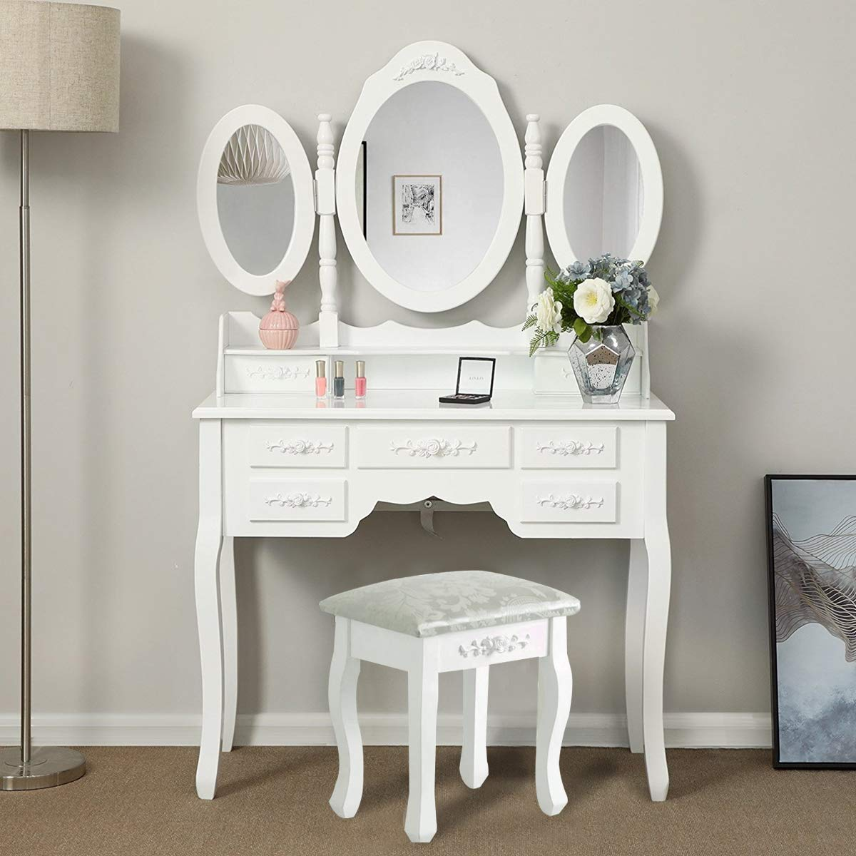 Boju White Dressing Table With Trifold Mirrors And 7 Storage Drawers And Stool Set Bedroom Fancy Makeup Vanity Table Desk For Ladies Gift Buy Online In Grenada At Grenada Desertcart Com Productid 156355083