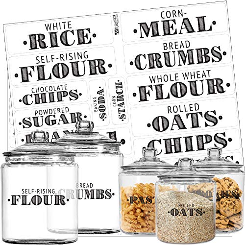 Pantry Labels - 36 Preprinted Kitchen Labels by Talented Kitchen. Black Words on Clear Sticker, Water Resistant, Farmhouse Food & Spice Jar Labels for Pantry Organization Storage (Set of 36 - Titles)