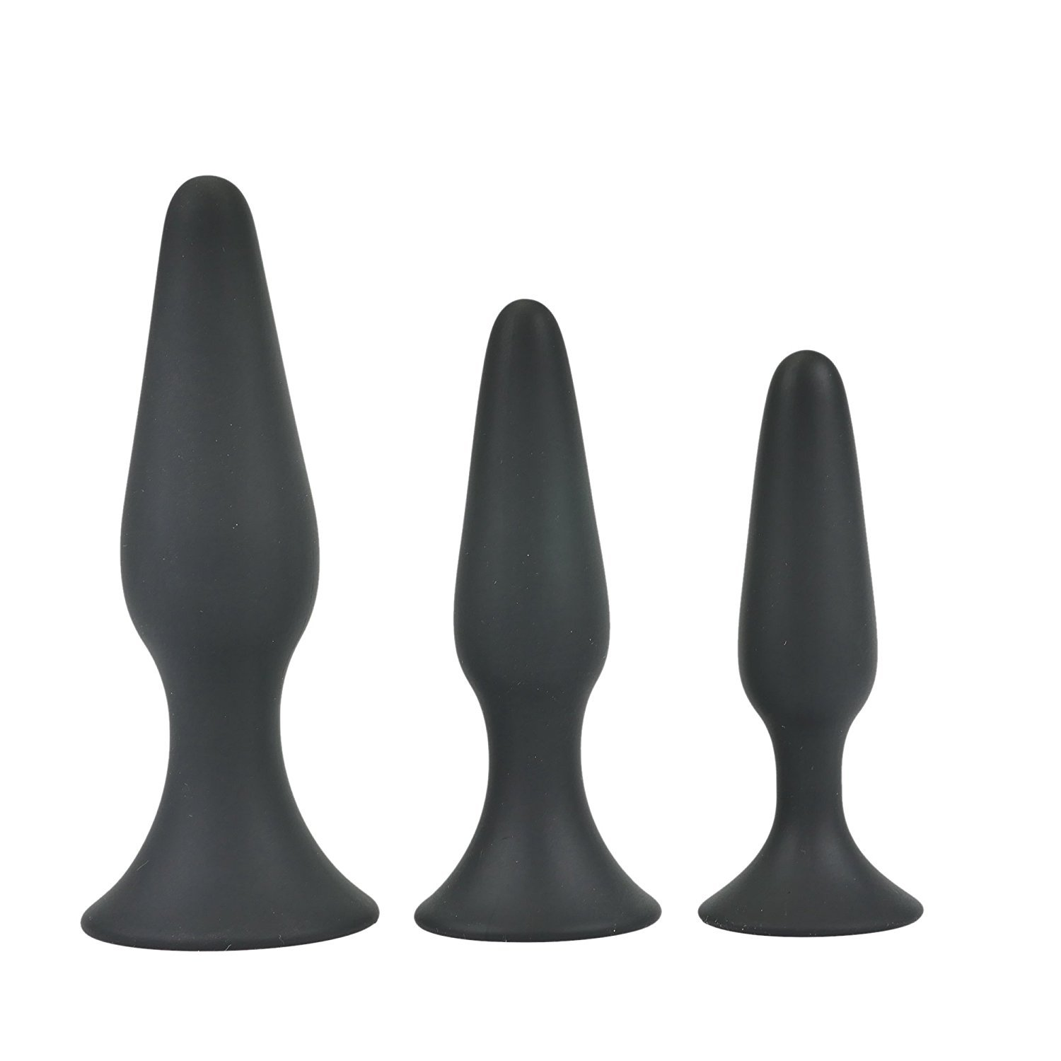 Shootmy 3 Pcs Anal Plugs Starter Kit Butt Plugs Anal Trainer Toys for Men & Women-Waterproof, Medcial Grade Silicone (Black)
