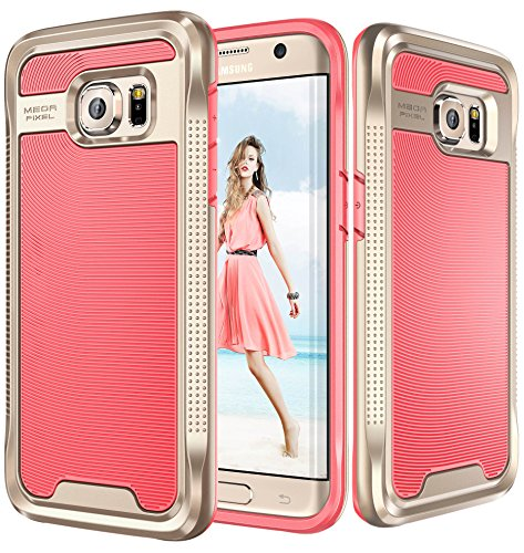 Galaxy S7 Edge Case, E LV Galaxy S7 Edge - Hybrid [Scratch/Dust Proof] Armor Defender Slim Shock-Absorption Bumper Case for Samsung Galaxy S7 Edge - [RED MELON/GOLD]