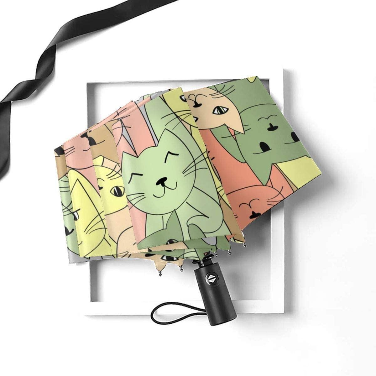 Many Cats Seamless Pattern Vector Image Compact Travel Umbrella Windproof Reinforced Canopy 8 Ribs Umbrella Auto Open And Close Button Personalized