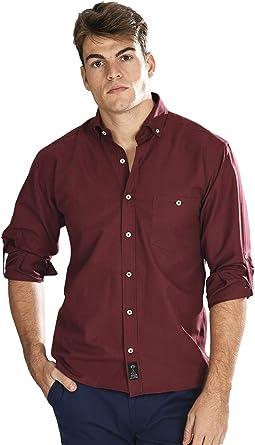 Camisa Oxford Manga Larga de Hombre en Granate: Amazon.es: Ropa y accesorios