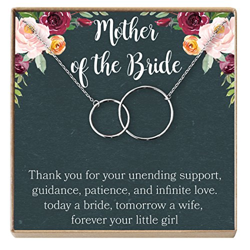 Mother of the Bride Gift Necklace: Wedding Gift, Bridal Party, Rehearsal Dinner, Woman of My Dreams, Parent of Bride (silver-plated-brass, (Bridal Mother Of The Bride)