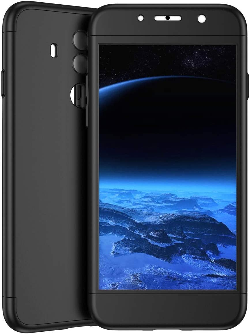 Herbests Compatible with Huawei Mate 10 Lite Case Thin Fit Shockproof 360/°Full Body Front Back Hard Case Cover Tempered Glass Screen Protector All-Around Protective Cover,Black
