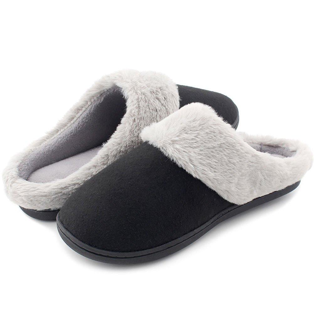 HomeIdeas Women's Woolen Fabric Memory Foam Anti-Slip House Slippers, Breathable Indoor Shoes (Medium/7-8 B(M) US, Black)