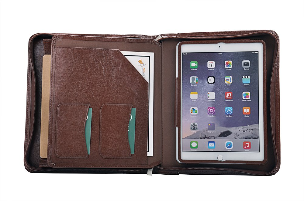 Deluxe Leather Organizer Padfolio for iPad Air 2 / iPad Air and A5 Paper