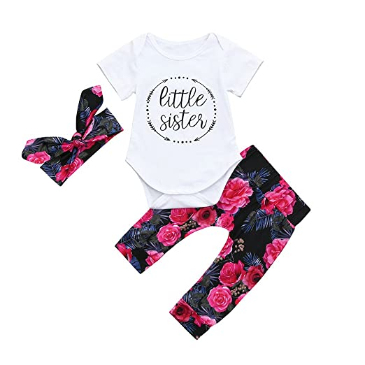154ba28dad ZHANGVIP 2018 New 3pcs Toddler Infant Baby Girls Short Sleeve Floral Clothes  Set Tops+Pants