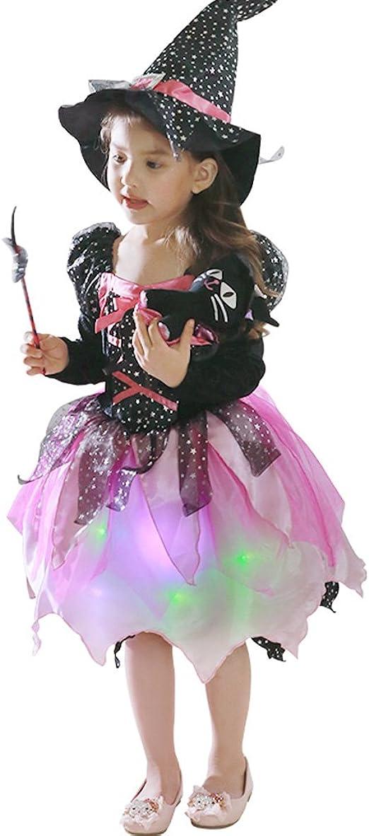 Amazon.com: Disfraz de bruja con luz LED para niñas, juego ...