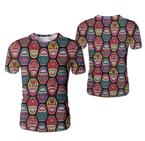 Stylish Women's Russian Nesting Dolls Shirts Realistic 3D Digital Short Sleeve T-Shirts for Boys Teen ()
