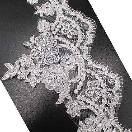 スパンコール刺繍レーストリムレースアップリケパッチウェディングドレス装飾供給5–1/ 2インチWide L1128の商品画像