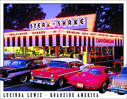 Desperate Enterprises Lucinda Lewis - Roadside America - Steak n Shake Tin Sign, 16