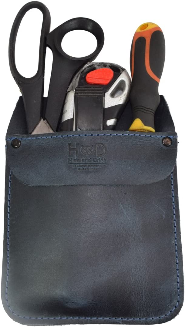 Hide & Drink, Durable Leather Work Pocket Organizer for Tools, Pens, Jeans Back Pocket Quick Grab Carry Job Tools, Office & Work Essentials Handmade Includes 101 Year Warranty :: Slate Blue
