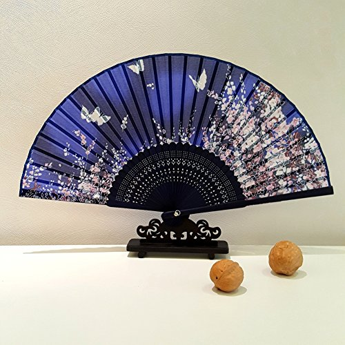 GreenDimension Slim Silk Folding Fan Bamboo Ribs Japanese Style Vintage Retro Sakura Butterflies Pattern Design Hand Held Fans for Dancing Cosplay Wedding Props Home Office Wall Decoration - Deep Blue (Vintage Style Fan)