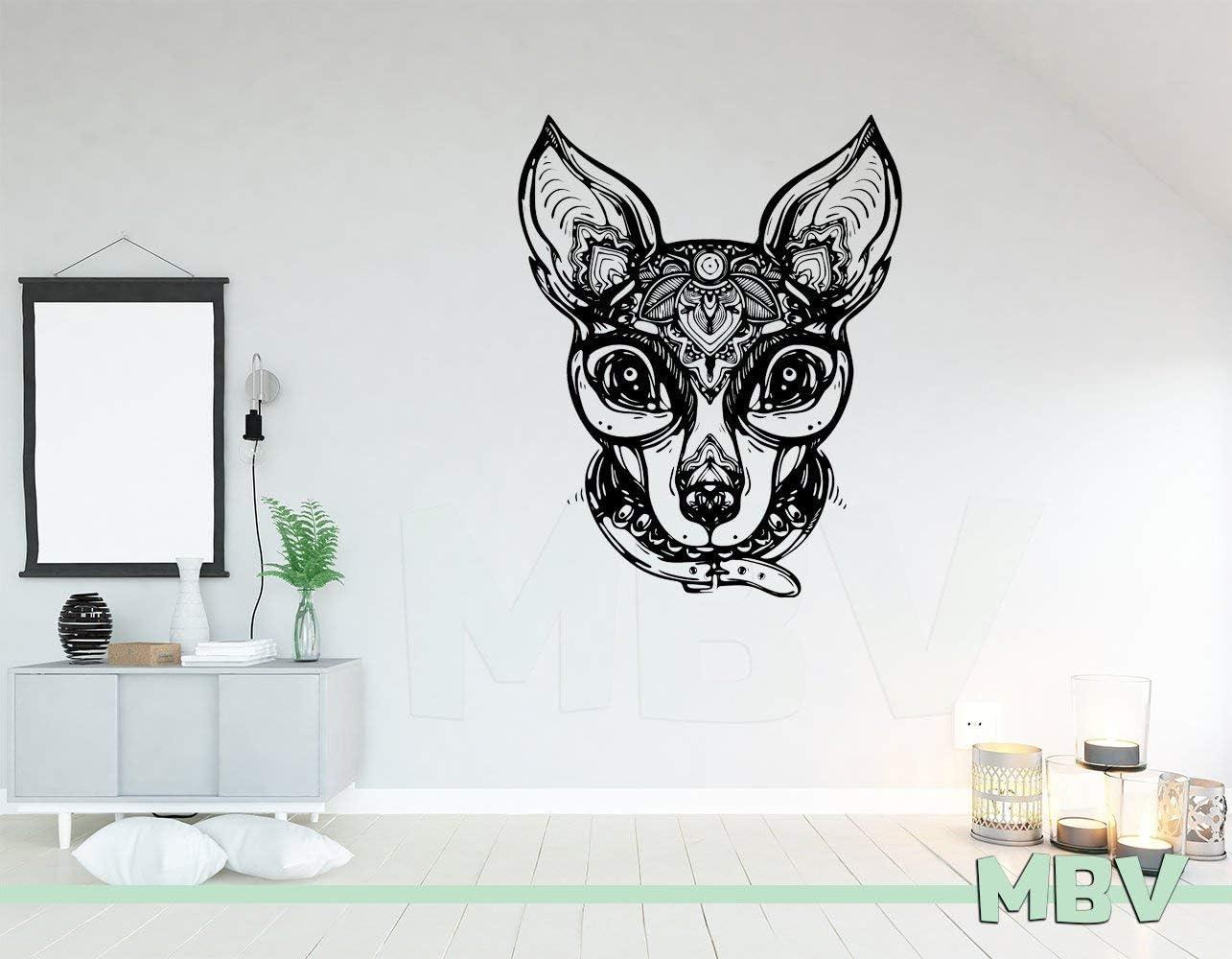 Mandala Dog Decal - Chihuahua Dog Wall Art - Chihuahua Wall Decor - Chihuahua with Collar Vinyl Sticker Mexican Dog Made in USA