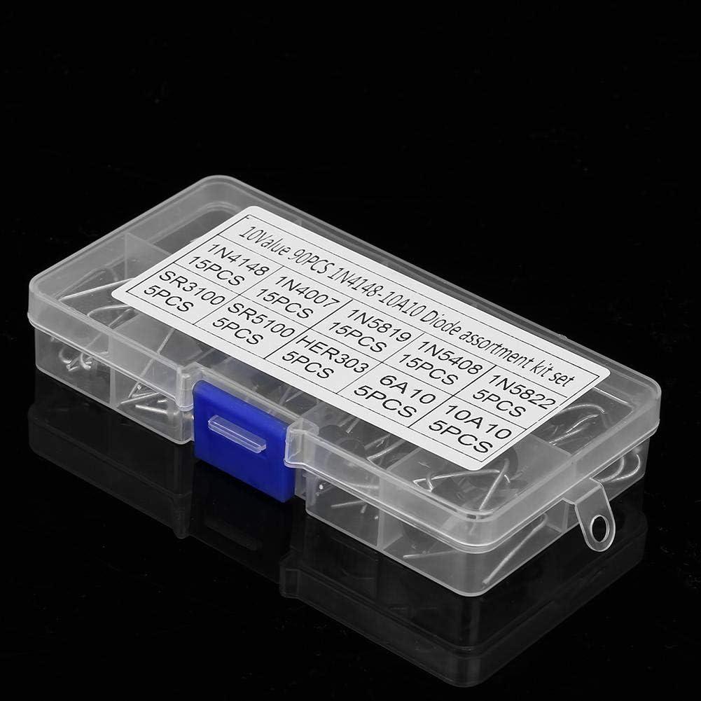 Lot de 90 diodes redresseurs de 10 valeurs avec bo/îte de rangement /électronique 1N4148-10A10