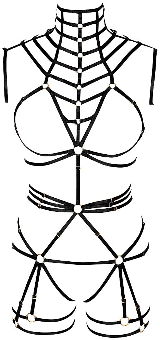 BODY CAGE Conjunto de lencería gótica Punk con arnés de Cuerpo ...