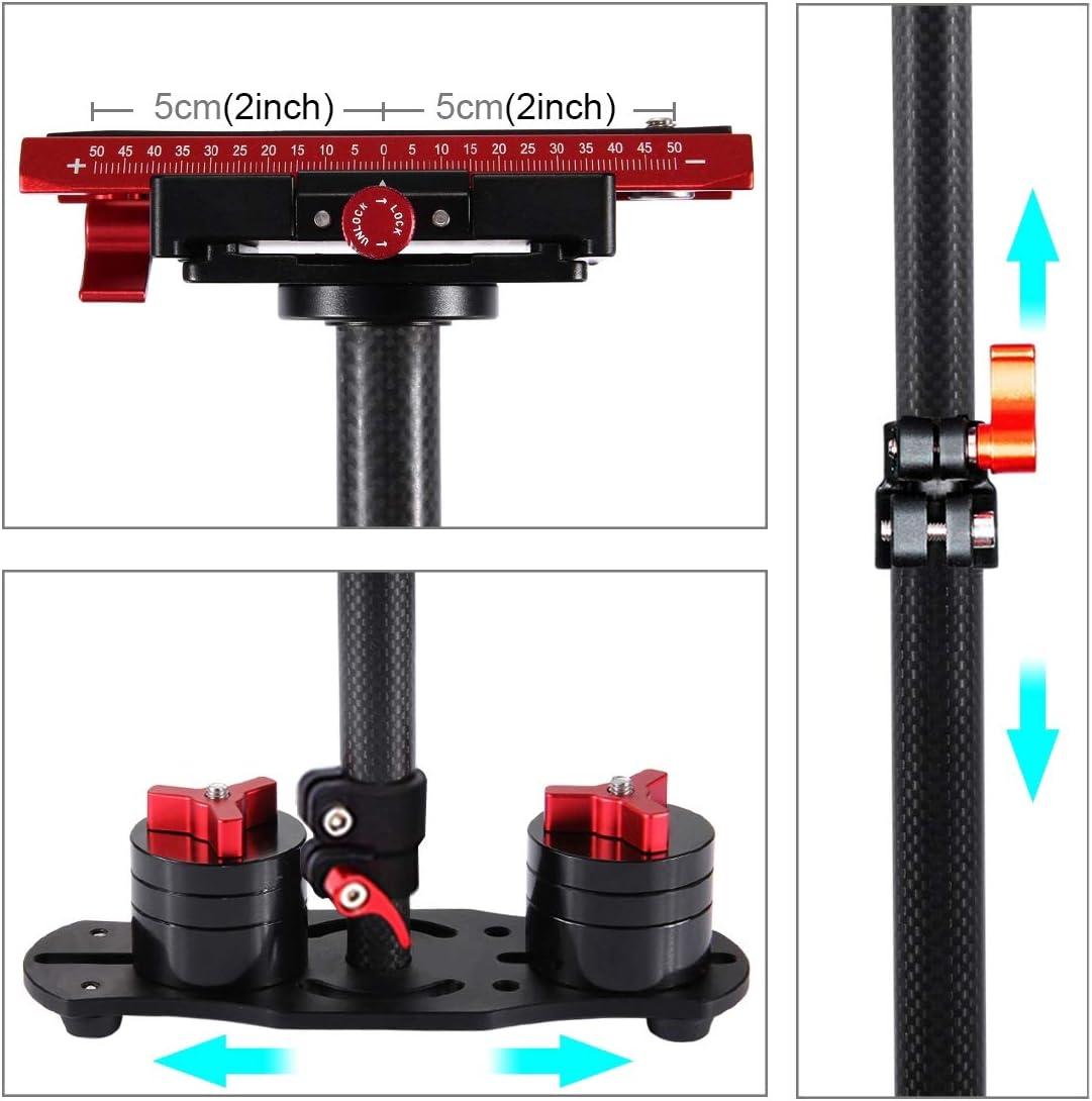 Load Range: 0.5-3kg Color : Red Camera Stabilizer 38.5-61cm Carbon Fibre Handheld Stabilizer for DSLR /& DV Digital Video /& Cameras Black