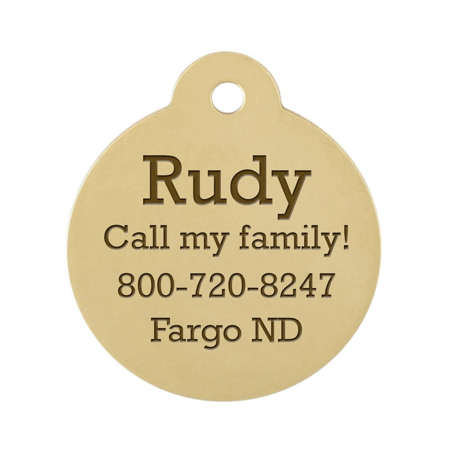 Personalized laser Engraved 1 Inch Round Brass 1 Inch Round Dog ID Tag with S-Hook and Split Ring