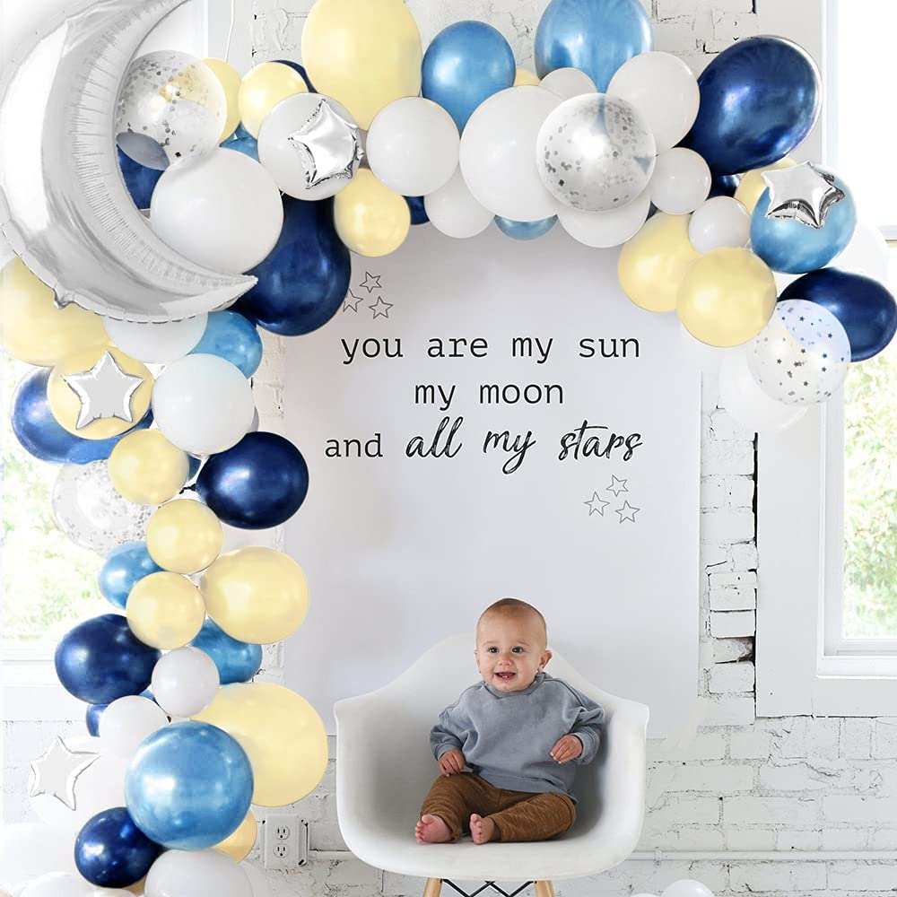 Sweet Baby Co. Twinkle Twinkle Little Star Baby Shower Decorations Balloon Garland Kit with Navy Blue, Yellow, White Balloons, Light Silver Moon and Stars for Party Decor, Birthday Decoration Backdrop