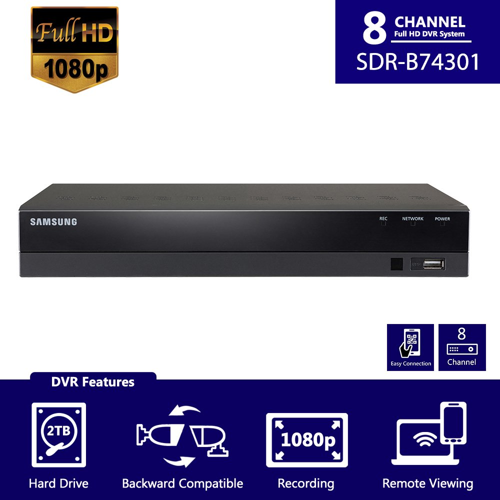 Samsung Sdh B74081 8 Channel Hd Security Dvr Sdr B74301 Directv Genie Wiring Diagram For 10 Base T Only With Accessories Supports Up To 1080p Analog Cameras Home Improvement