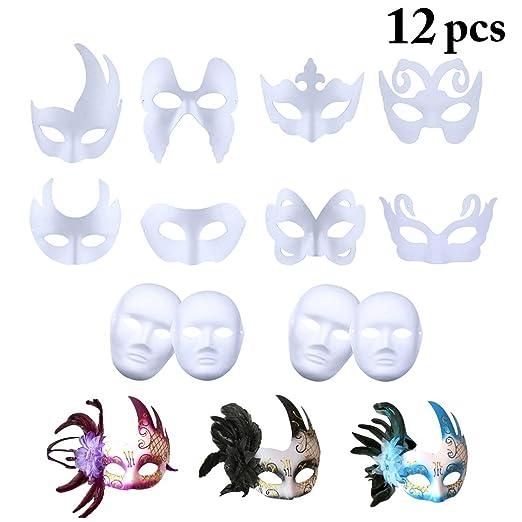 Outgeek Máscara Blanca, 12PCS Máscara Blanca para Niños Pintar De ...