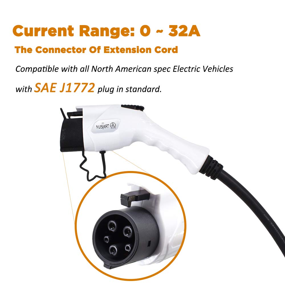 MUSTART 32 Amp 20 Ft J1772 Extension Cord for EV Charger Electric Vehicle Charging Stations by MUSTART (Image #3)