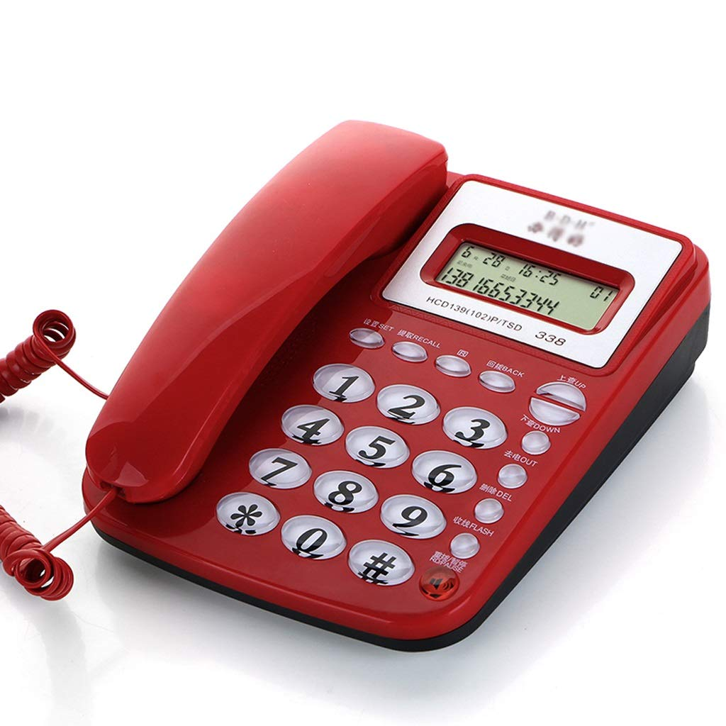 HTDZDX Corded Desk Telephone with Speakerphone, Basic Calculater and Caller ID, Red