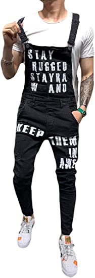 Romancly Men's Denim Jumpuits Bib Pants Fitted Overall Hole Distressed Ankle Jeans