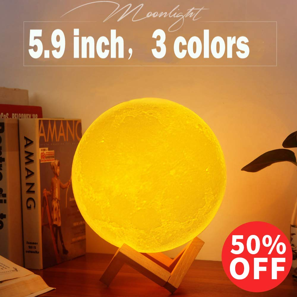 Sunba Youth Moon Night-1 3D Lunar Lamp with Stand, 5.9 Inches Mystical Rechargeable Dimmable Touch Control Lighting Color for Home Decor, 6.96.96.5, Warm Color