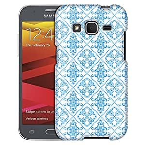 Samsung Galaxy Core Prime Case, Slim Fit Snap On Cover by Trek Victorian Gothic Blue on White Case
