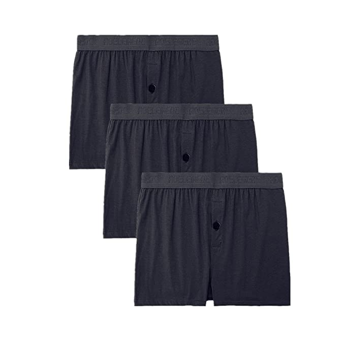 acf14272245e NECOA Men's Underwear Cotton Stretch Knit Boxers with Exposed-Waistband  Pack of 3 (Black