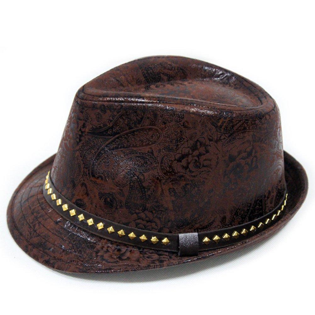 LOCOMO Paisley PU Leather Fedora Short Upturn Brim Hat Cap Cuban FFH247BRN