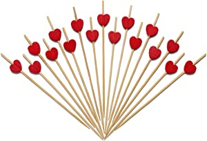 Minisland Red Heart Skewers for Appetizers Fruit Kabobs Long Bamboo Cocktail Picks Bridal Shower Wedding Birthday Valentines Party Toothpicks Food Drinks Decor Disposable 4.7 Inch 100 Counts-MSL131