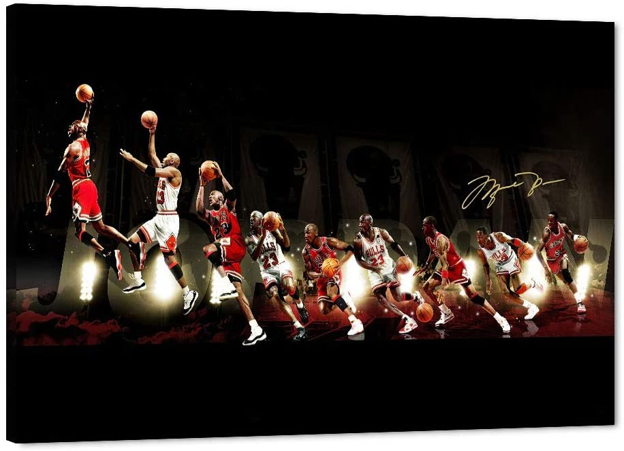 "MJ Jordan Canvas Wall Art, Basketball Legend Jordan Quote Inspirational Canvas Painting, The Air-Jordon Poster Picture, Michael Framed Artwork Jordan Fans Gift for Home Bedroom Wall Decor (12""Wx18""H)"
