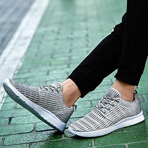 casual vera on traspirante moda scarpe confortevole pelle uomo da mesh estive slip scarpe Bebete5858 uomo estate morbido marchio scarpe in Grigio 1pz0n