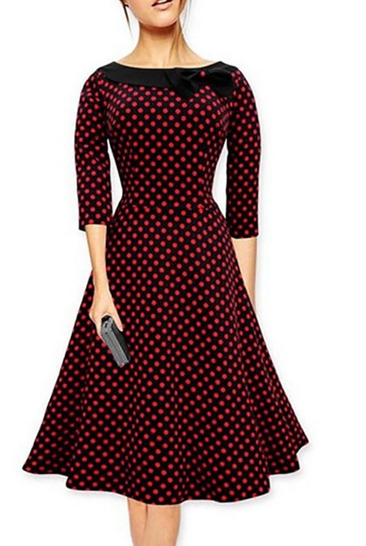 Elegant Damen 50er Retro Polka Dots Abendkleider 3/4-Arm Rockabilly Swing Kleid Cocktailkleid Partykleider Gr.S-XXL
