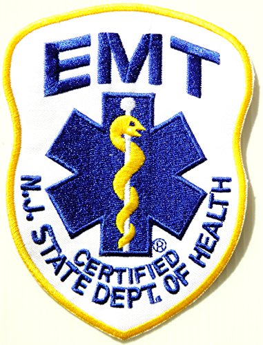 EMERGENCY MEDICAL TECHNICIAN EMT NJ STATE DEPT. OF HEALTH CERTIFIED Logo T shirt Jacket Uniform Patch Iron on Embroidered Sign Badge Costume -