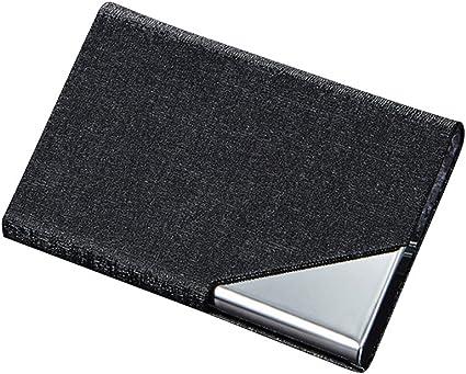 Tarjetero caja de la PU Cuero y titular de la tarjeta de acero inoxidable para hombres y mujeres con cerrado magnético Oracle grano patrón de cuero 1pc Negro: Amazon.es: Oficina y papelería