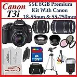 Canon EOS Rebel T3i SLR Digital Camera Kit with Canon 18-55mm Lens + Canon EF-S 55-250mm IS Autofocus Lens + Premium SLR Camera Lens Package, Best Gadgets