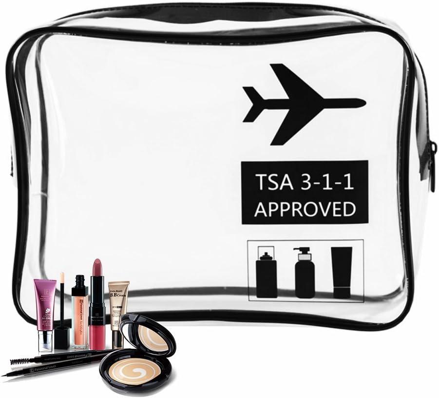 Iraza Neceser Transparente, Bolsa Impermeable de Aseo Claro PVC de Cosméticos,Transporte de Líquidos en Avión para Mujer y Hombre