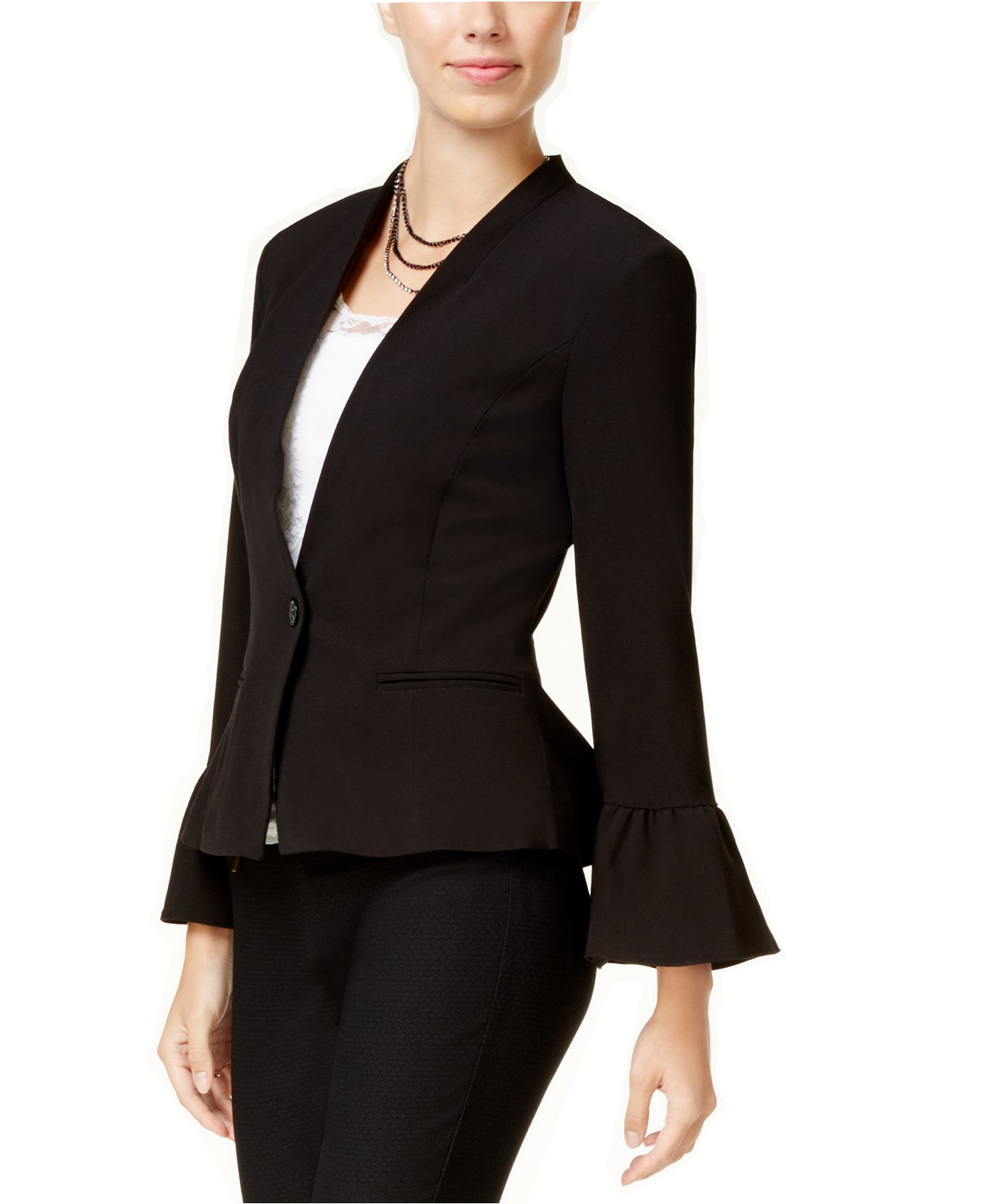 XOXO Juniors' Ruffled-Sleeve Peplum Blazer (Black, Large)