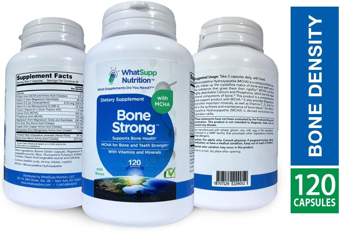Bone Strong Calcium Supplement with MCHA Calcium Hydroxyapatite | Bone Strength & Bone Health Supplements | 10 Nutrients w/Boron & Vitamin D | Calcium, Magnesium, Zinc, K2, D3 Vitamin Supplement