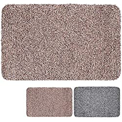"Indoor Super Absorbs Mud Doormat 28""x 18""Latex Backing Non Slip Door Mat for Small Front Door Inside Floor Dirt Trapper Mats Cotton Entrance Rug Shoes Scraper Machine Washable Carpet Brownish Tan"