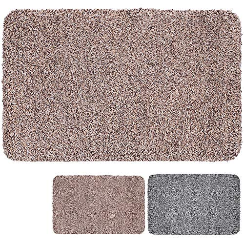 Indoor Doormat Absorbent Mats 28''x18'' Latex Backing Non Slip Door Mat for Small Front Door Inside Floor Mud Dirt Trapper Mats Cotton Entrance Rug Shoes Scraper Machine Washable Carpet Brownish Tan by BEAU JARDIN