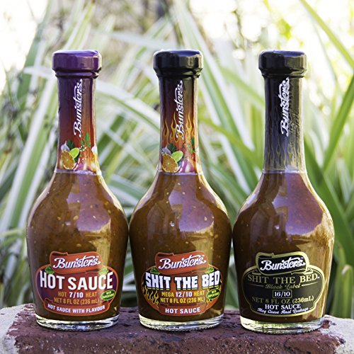 Bunsters Hot Chili Pepper Sauce - 3 Pack Set - Including Shit the Bed Hot Sauce, 8 fl oz by Bunsters (Image #4)'
