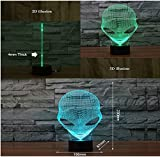Borang 3D Lamp USB Power 7 Colors Amazing Optical Illusion 3D Grow LED Lamp Alien Shapes Children Bedroom Night Light
