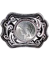 "U.S. Silver Dollar Belt Buckle 3.75"" x 2.5"" - Silver-Tone with Black Enamel - with Uncirculated Peace Silver Dollar"